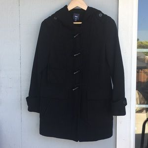 Ladies pea coat jacket with hoodie